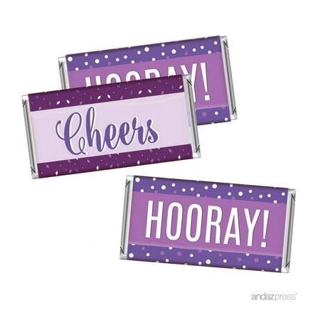 Lavender, Plum, Royal Purple Wedding Party, Hershey's Bar Labels Stickers, Cheers! Hooray! - Plum Wedding