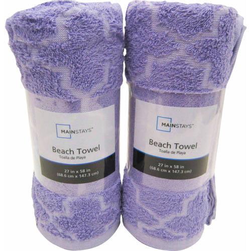 Mainstays Cotton/Poly Blended Tile Beach Towel Set, Set of 2