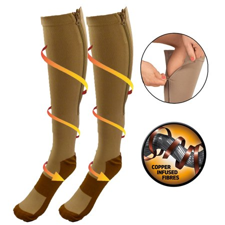 Closed Toe Compression Stocking (Copper Infused Zipper Compression Socks - Closed Toe Zip Up Circulation Pressure Stockings - Knee High For Support, Reduce Swelling & Better Circulation - Nude Regular )