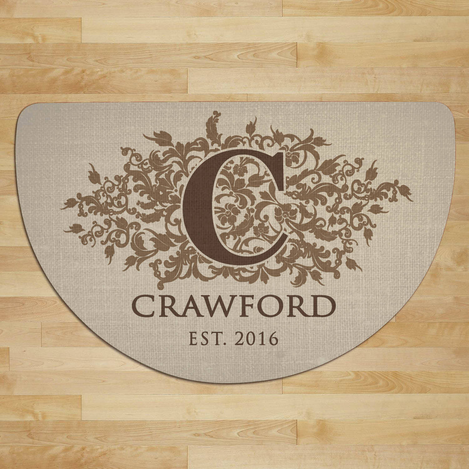 Floral Initial Personalized Half Round Doormat