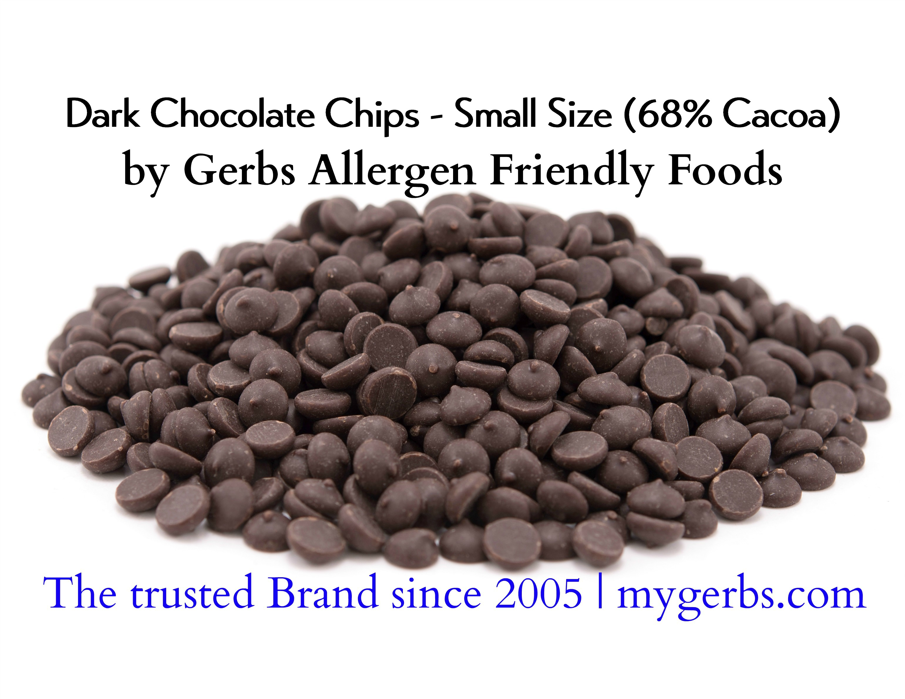 Dark Chocolate Chips (68% Cacao) by Gerbs - 2 LBS - Top 12 Food ...