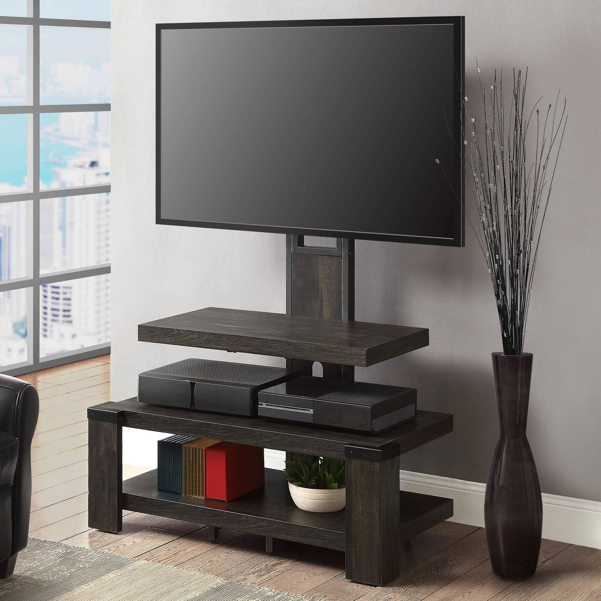 "Whalen 3-Shelf Television Stand with Floater Mount for TVs up to 50"", Perfect for Flat Screens, Weathered Dark Pine Finish"