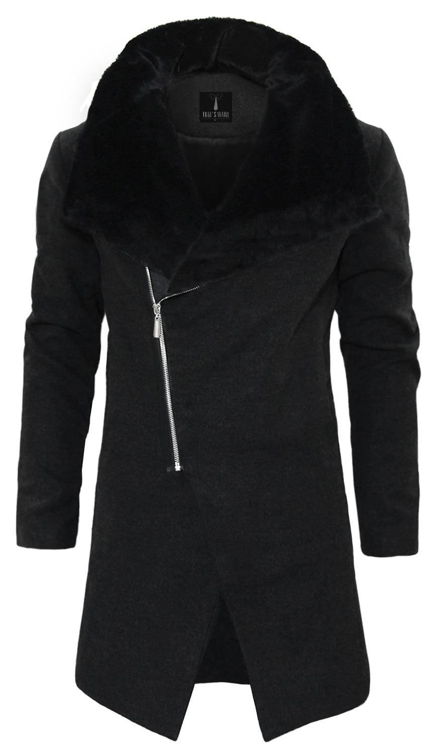 TAM WARE Men Stylish Fur Large Lapels Zip-up Wool Blend Coat by TAM WARE