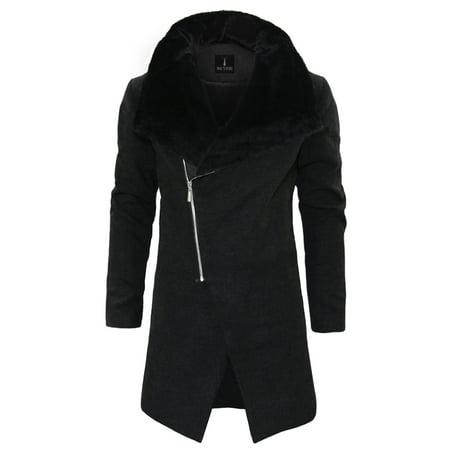 TAM WARE Men Stylish Fur Large Lapels Zip-up Wool Blend Coat