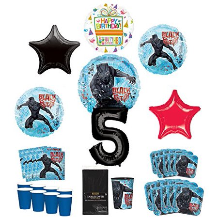 Black Panther Party Supplies 8 Guests 5th Birthday Balloon Bouquet Decorations - Red And Black 50th Birthday Decorations
