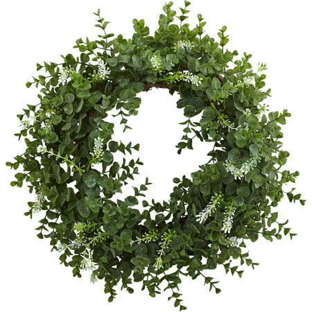 "Nearly Natural 18"" Eucalyptus Double Ring Wreath with Twig Base"