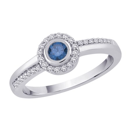 Blue Diamond Center (10K White Gold 1/3 ct. Diamond Engagement Ring with Blue Center)