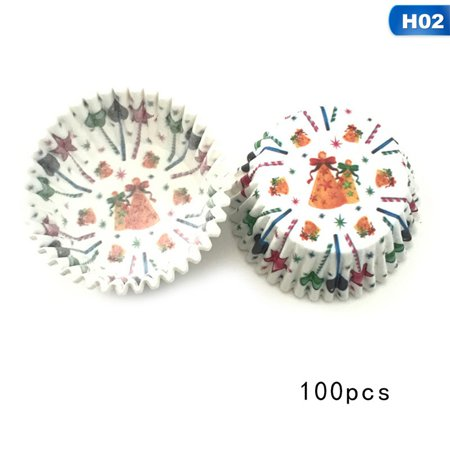 Fancyleo 100Pcs/Lot Christmas Series Cupcake Wrapper Paper Muffin Cases Cup Cake Baking Tray Kitchen Pastry Decoration Tools ()