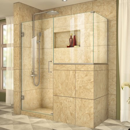 Unidoor Plus 35 in. W x 30 3/8 in. D x 72 in. H Frameless Hinged Shower Enclosure, Clear Glass, Brushed
