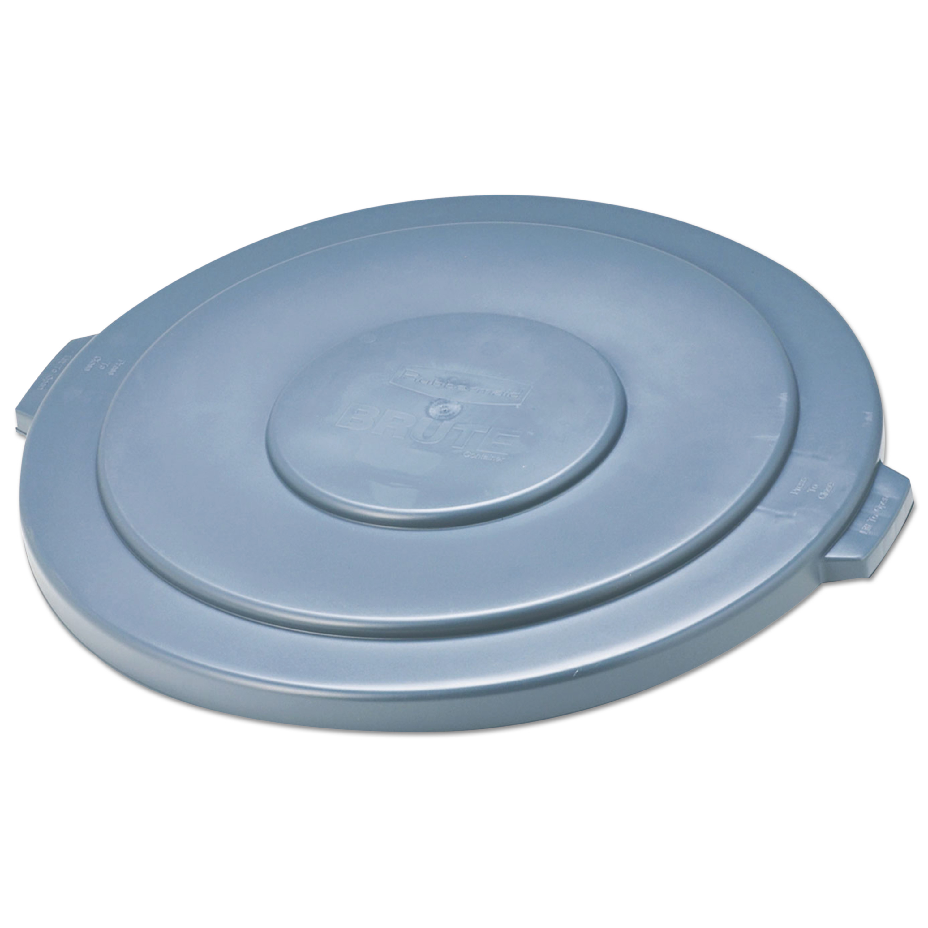 """Rubbermaid Commercial Round Flat Top Lid, for 55-Gallon Round Brute Containers, 26 3/4"""", dia., Gray"""