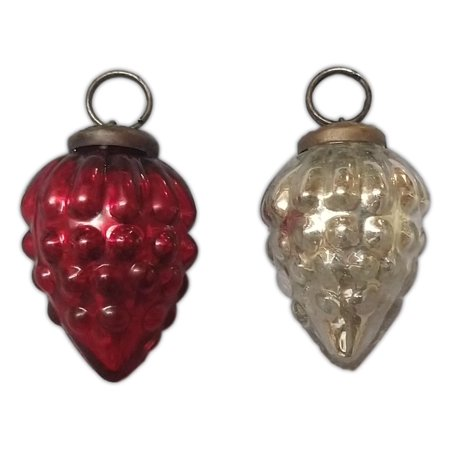 Set of 2 Glass Pinecone Mercury Christmas Ornaments, Red & Silver, 1.5
