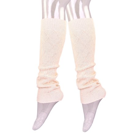 Premium Solid Color Soft Diamond Knit Leg - Red And White Striped Leg Warmers