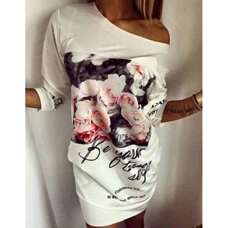 Womens Casual Half Sleeve Flower Painted Off The Shoulder Sexy Tshirt Dress Sexy One Shoulder Floor
