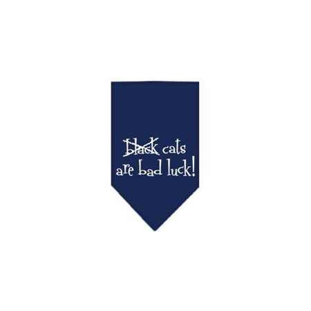 Black Cats are Bad Luck Screen Print Bandana Navy Blue Small - Black Cat On Halloween Bad Luck