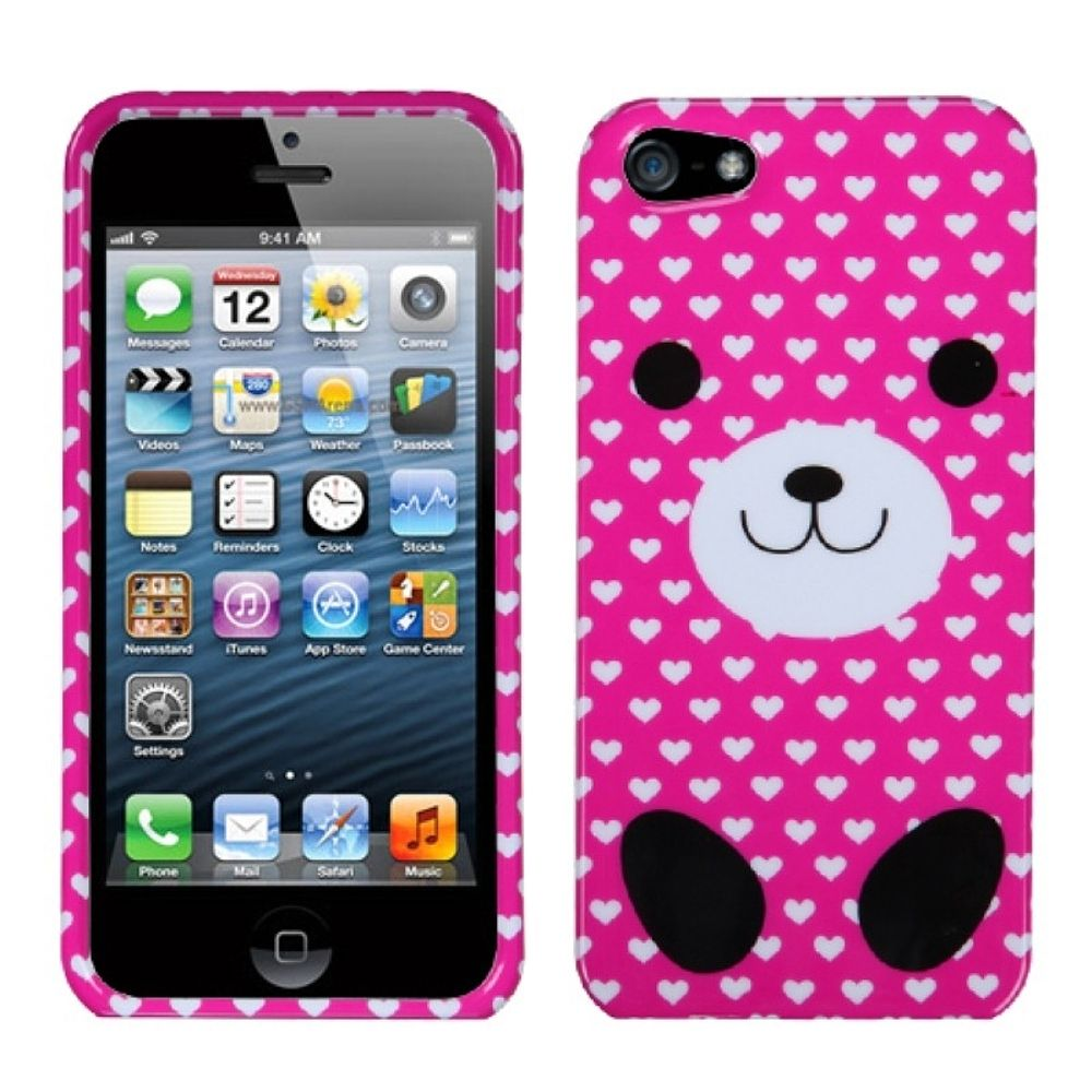Insten Dog Hard Case For Apple iPhone 5/5S/SE - Hot Pink/White