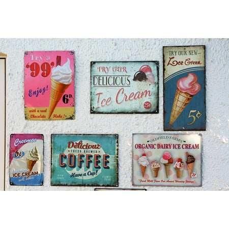 - LAMINATED POSTER Sign Vintage Retro Ice Cream Vintage Sign Poster Print 24 x 36