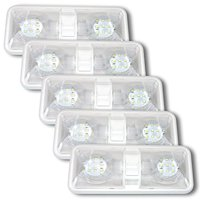 5 Pack RV LED Ceiling Double Dome Light Fixture with ON/OFF Switch Interior Lighting for Car/RV/Trailer/Camper/Boat DC 12V Natural White 4000-4500K 48X2835SMD