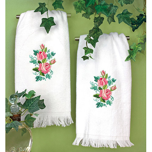 "Dimensions Roses and Ivy Guest Towels Stamped Embroidery, 16"" x 26"""
