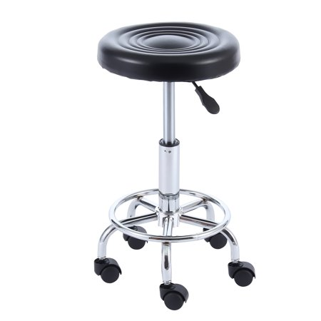 Fabric Covered Drafting Stool (5Rcom Small Medical Spa Drafting Stool 24 inch in Black with Swivel Wheels and Height Adjustment SC1002B)