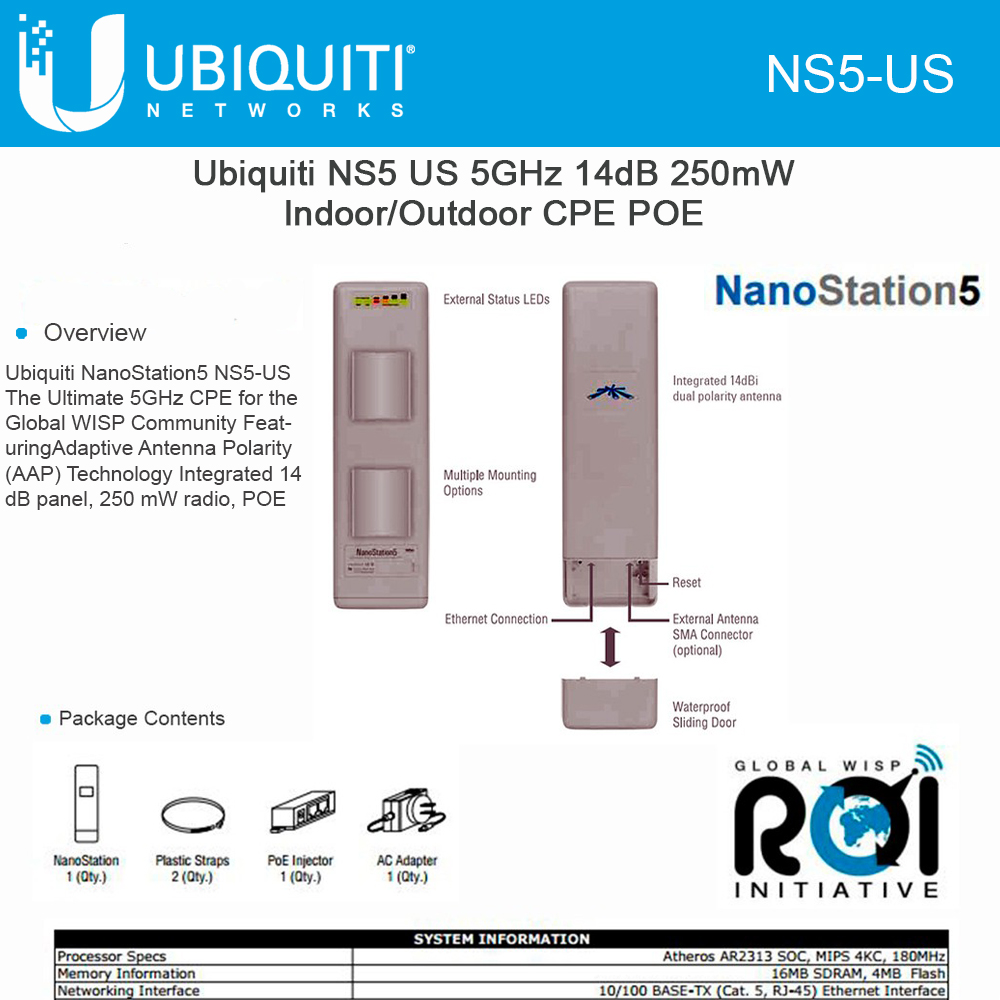 Ubiquiti NanoStation5 NS5 5GHz 14dBi 250mW Indoor Outdoor CPE PoE 10km+ 25Mbps