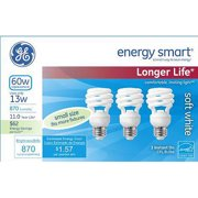 GE energy smart spiral CFL 13 watt (60 watt Equivalent) T2 spiral 3-pack