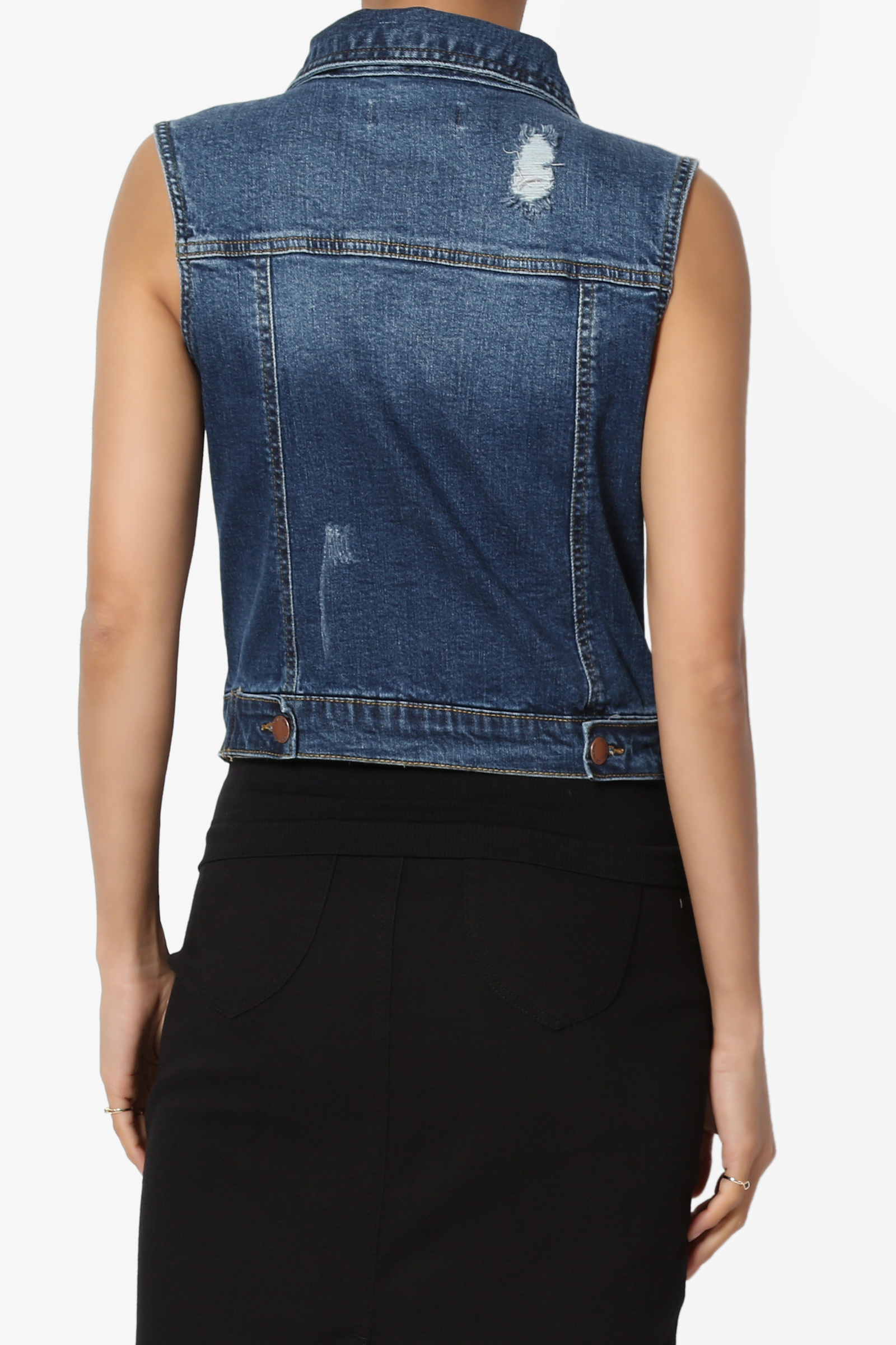 e729d972a1cbf TheMogan - TheMogan Women s S~3X Destroyed Washed Trucker Denim Vest  Sleeveless Jean Jacket - Walmart.com
