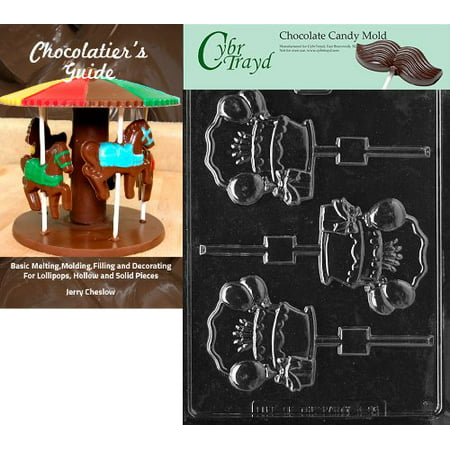 Cybrtrayd Personalize B-Day Cake Lolly Kids Chocolate Candy Mold with Chocolatier's Guide - Personalized Chocolates