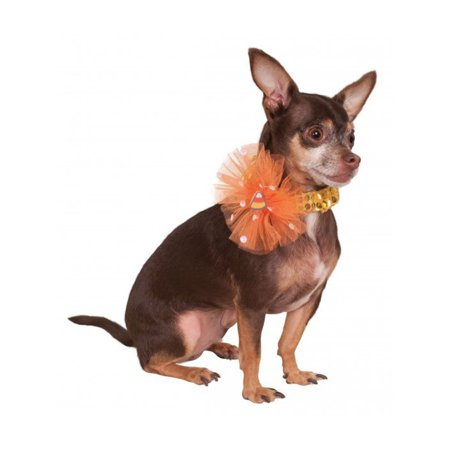 Halloween Candy Corn Sequin Necklace Collar For Pet Dog Costume Accessory