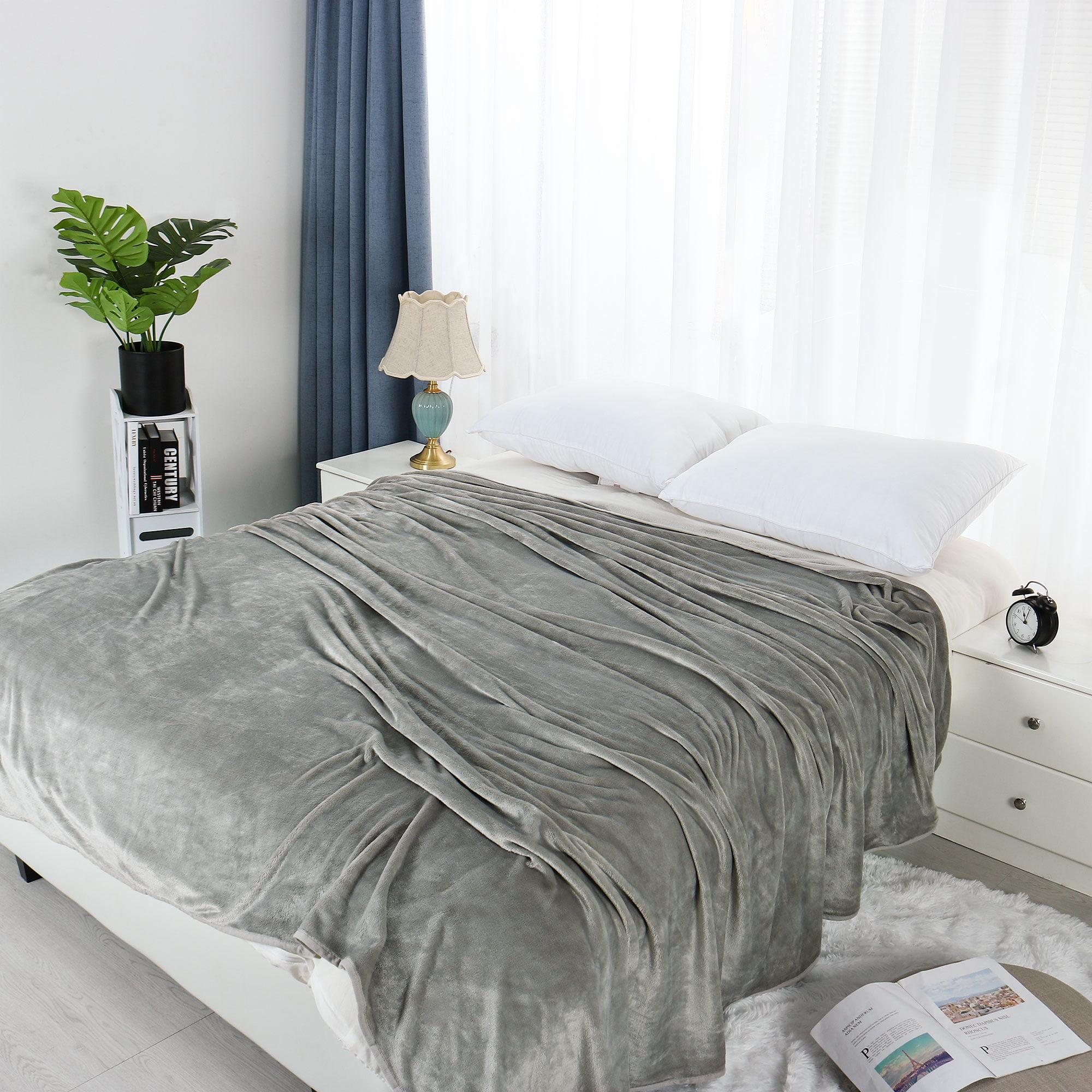 Soft Warm Solid Printed Grey Sofa Bed Micro Plush Fleece Twin Size Blanket Walmart Com Walmart Com
