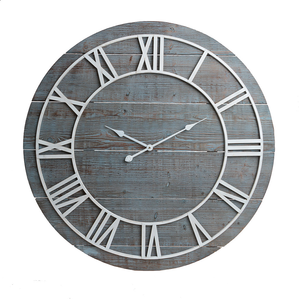 "36"" Rustic Washed Gray Wood Plank Frameless Wall Clock"