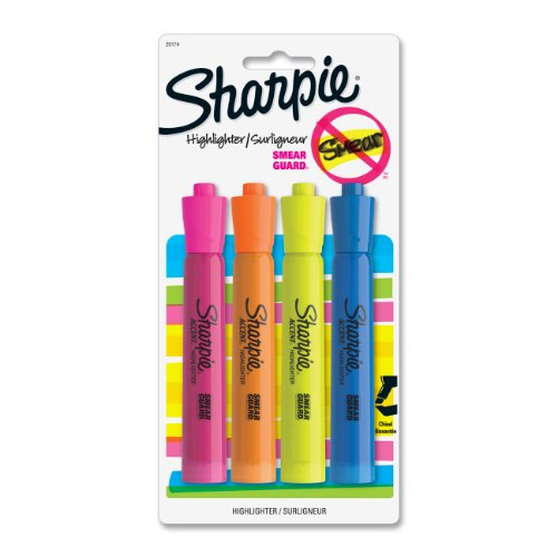 Sharpie Accent Tank Highlighter - Chisel Marker Point Style - Yellow, Orange, Pink, Blue Ink - 4 / Pack (25174PP)