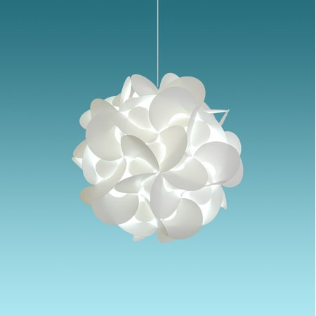 Akari Lanterns Small Rounds 12 inch wide , Cool White Glow, Modern & Unique Ceiling Hanging Light Fixtures / Swag Plug in or Hardwire as Pendant Lamp Shade - Spiral bulb included, Easy to install