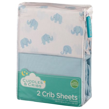 Cuddles & Cribs 2 Pack Organic Cotton Fitted Crib Sheet - Blue,