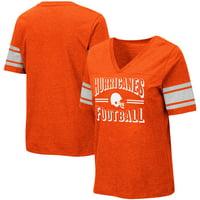 Miami Hurricanes Colosseum Women's Blue Blood Football V-Neck T-Shirt - Heathered Orange