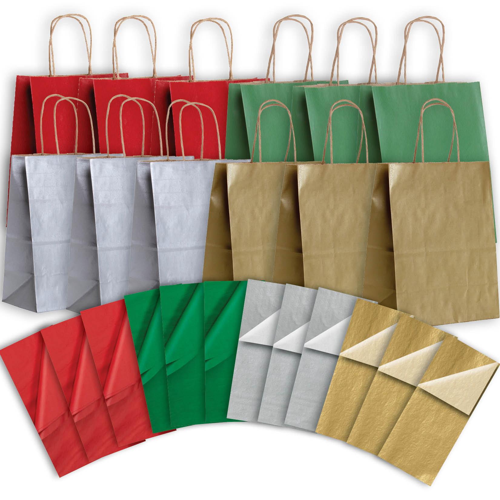 Jillson & Roberts Eco-Friendly Kraft Medium Gift Bag & Tissue Assortment, Christmas (12 Bags)