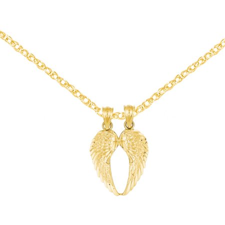 14kt Yellow Gold Break Apart Diamond-Cut Wings Pendant ()