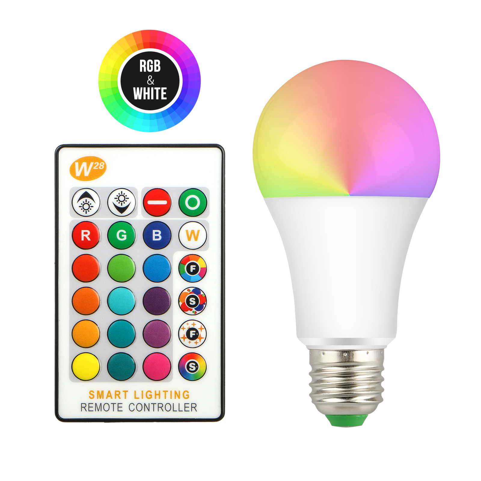 EEEKit 10W Smart LED Light Bulb, E27 16 RGBW Color Changing Lamp with Remote Contro, RGB Atmosphere Lighting and 65W Equivalent White Daily Lighting