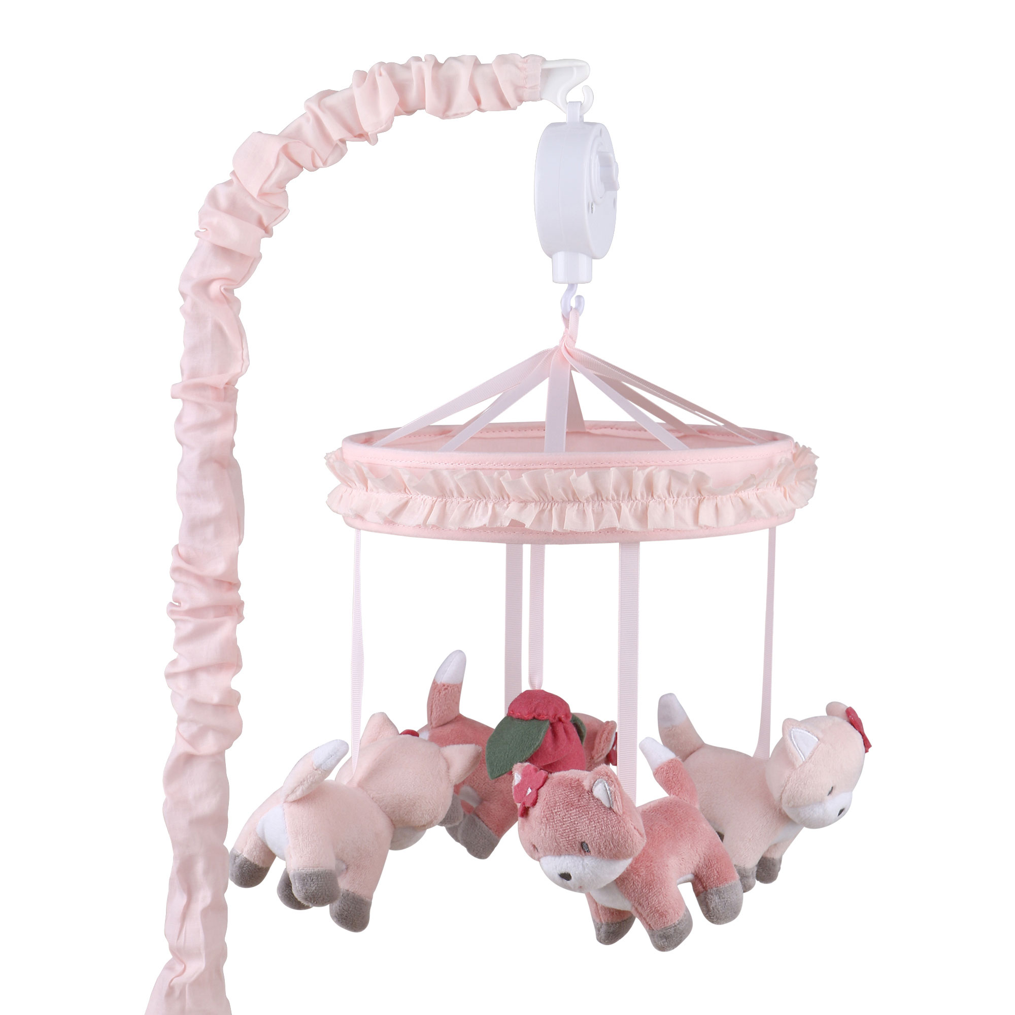 Rose Pink Fox Musical Baby Crib Mobile by The Peanutshell
