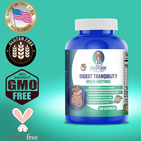 Multi Digestive Enzymes - Ease Gas, Bloating, Digestion & Food Sensitives - 100 Caps Dairy & Gluten (Right Foods Digestive Care)