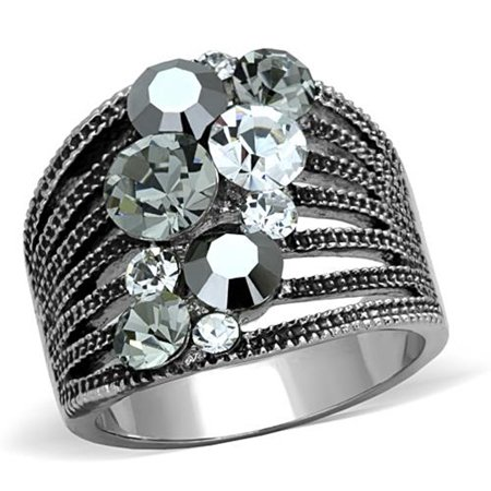 - Women's Vintage Stainless Steel AAA Grade Crystal Cocktail Fashion Ring Size 5