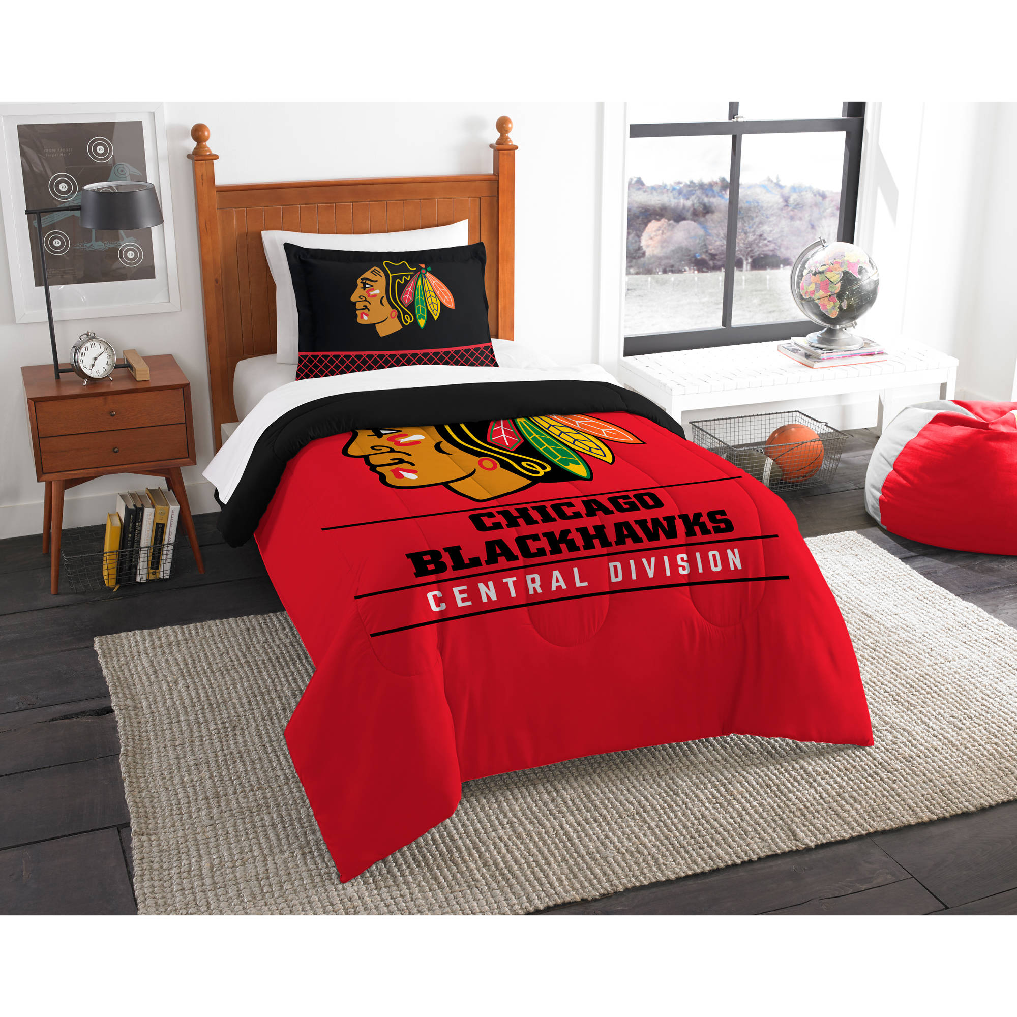 "NHL Chicago Blackhawks ""Draft"" Bedding Comforter Set"