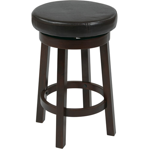 "OSP Designs Metro Counter-Height Leather Round Stool, 24"", Multiple Colors"