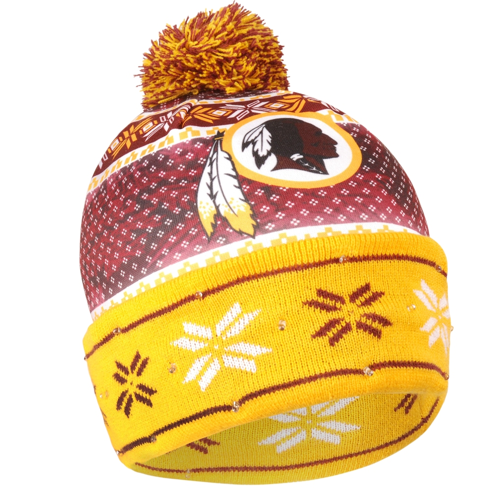 """Washington Redskins NFL """"Ugly"""" LED Light Up Cuffed Knit Hat with Pom by Forever Collectibles"""