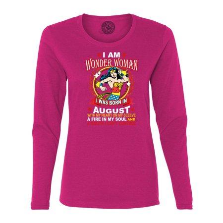 Wonder Woman Born In August Superhero Womans Long Sleeve T Shirt](Blue And Gold Superhero)