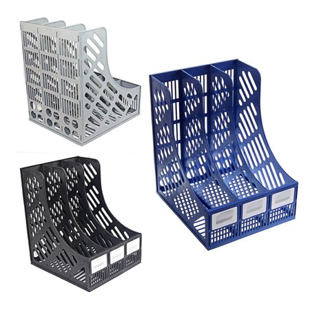 - Micelec 3 Sections Magazine File Stand Holder Home Office Document Storage Desk Organizer