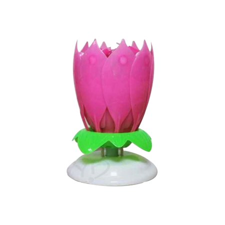 Birthday Candle Mix Color Lotus Rotating Play Music Happy To You Decorative Candles For Cake Amazing Romantic Musical Pink Blue Yellow