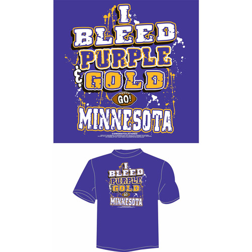 "Minnesota Football ""I Bleed Purple and Gold, Go Minnesota"" T-Shirt, Purple"