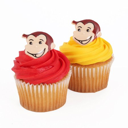 Curious George 24 Cupcake Topper Rings24 Curious George Cupcake Topper Rings^Made of food safe plastic^Bakery Crafts Profesisonal is the ONLY company.., By Bakery Crafts