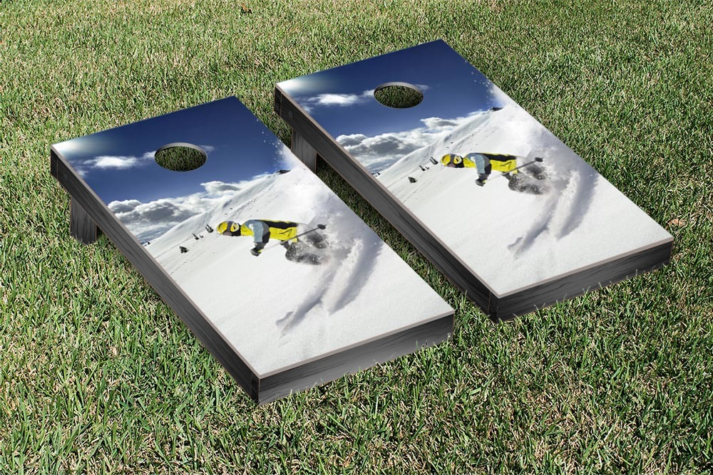 Snow Skiing Themed Cornhole Game Set by Victory Tailgate
