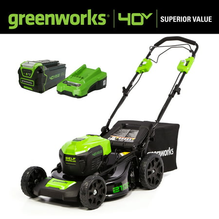 Greenworks 40V 21 in. Cordless Brushless Self-Propelled Lawn Mower with 5.0 Ah Battery and Quick Charger, 2516402